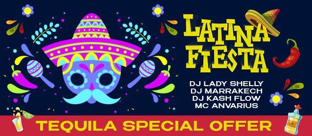 Latino Fiesta. Dj Lady Shelly, Dj Marrakech, Dj Kash Flow, Mc Anvarius